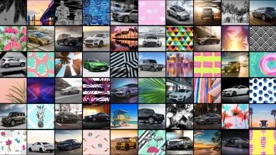 Collage 60 mit miami-typischen Fotos und Mercedes Benz Wagen