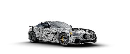Auf Mercedes eine Illustration eines Künstlers aus Miami retuschiert